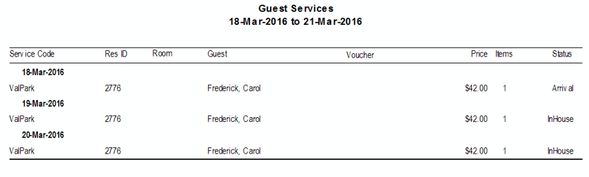 Guest Services Report