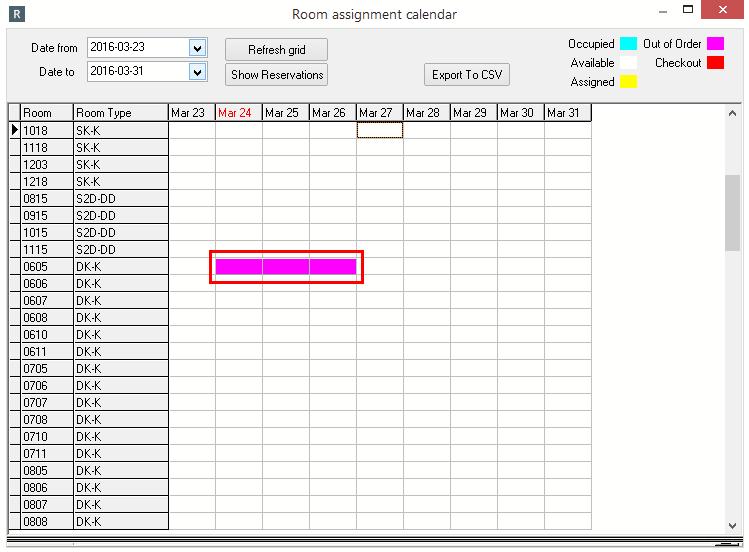 Room Assignment Calendar