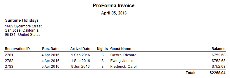 ProForma Invoice (for selected)