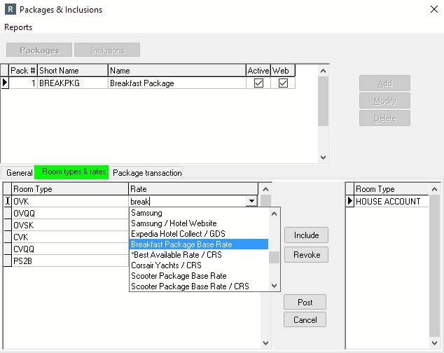 Room Types & Rates tab