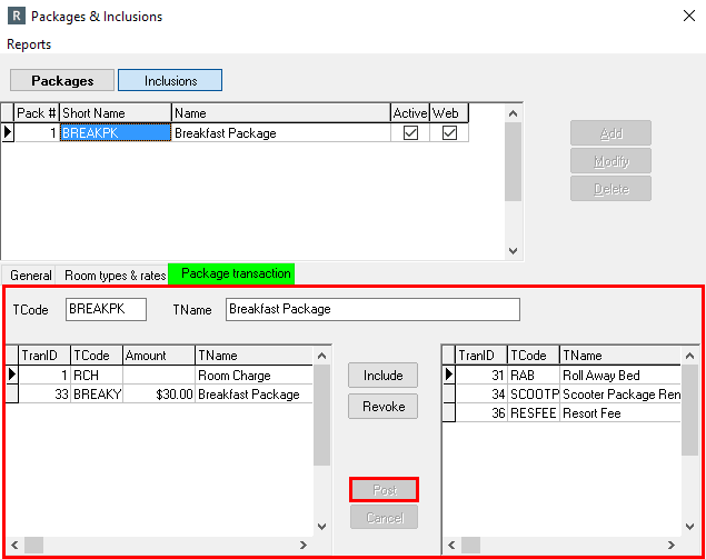 Package Transaction tab