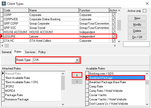 Attach Package to Client Types