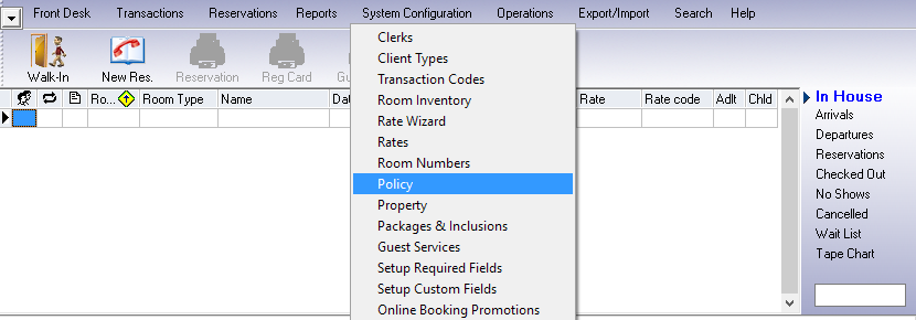 Room Type Policies