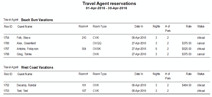 Reports > Reservations > Travel Agent Reservations