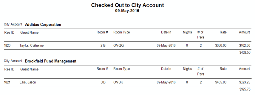 Reports > Audits > Checked out by City Account