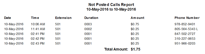 Not Posted Calls Report