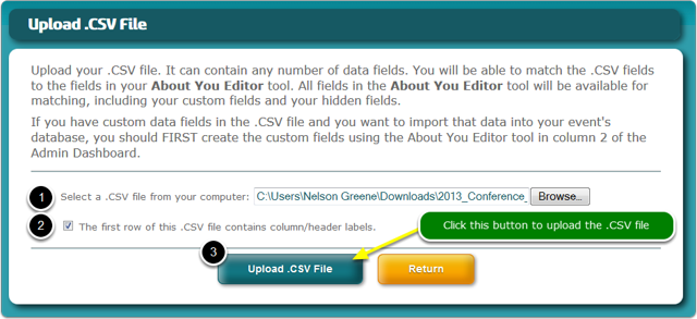 "If you selected ""I would like to upload a .CSV file of contacts"" in the previous step ..."
