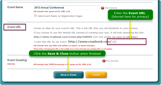 Type your Event URL into the field