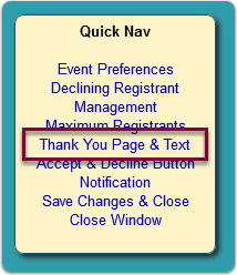 Click the Thank You Page & Text link in the Quick Nav panel