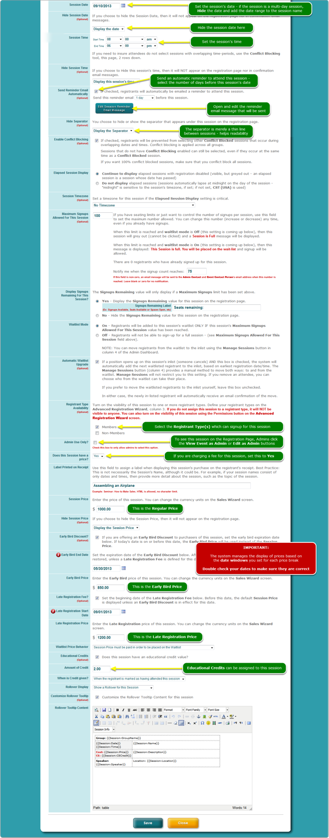 The Add/Edit Session screen - Bottom half
