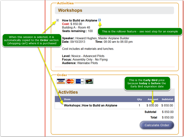 The session above, How to Build an Airplane, displays on the registration page like this: