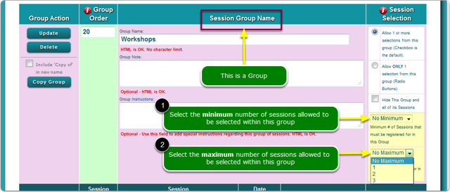 Set a maximum or minimum number of session selections WITHIN ONE GROUP