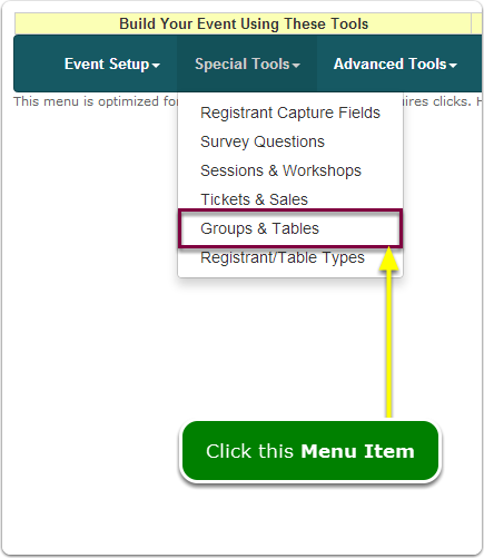 If Menus, your Group Registration tool is located here ...
