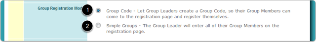What are the 2 modes of group registration?