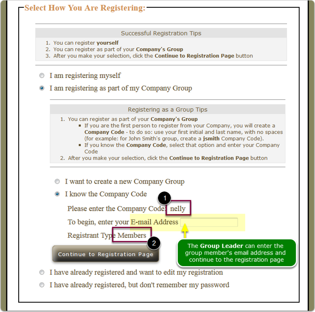 Group Leader's Landing page for group member registration