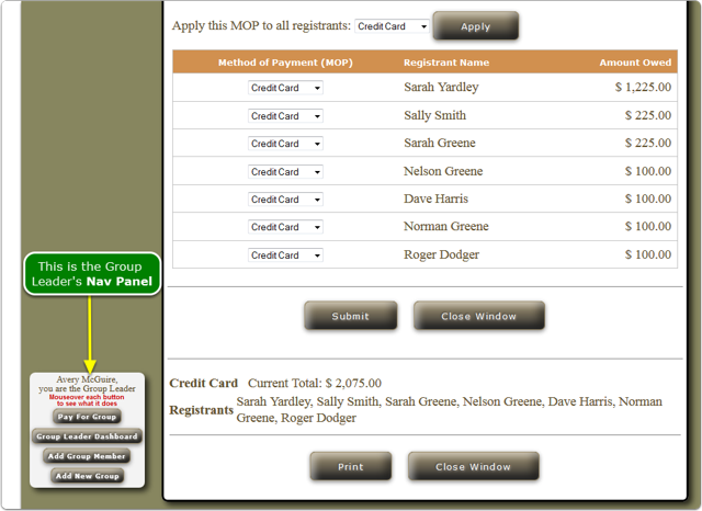3.  The Group Leader's payment selection page