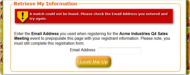 What does the Automatic FAILURE look like on the registration page?