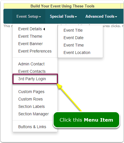 If Menus, your Event ID and Password tool is located here ...