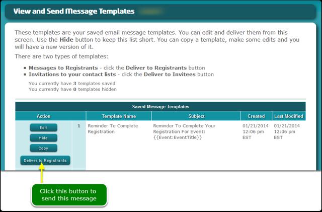 Send the incomplete registration message