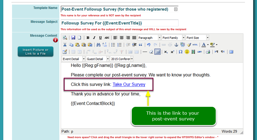 Survey link inserted into the message...
