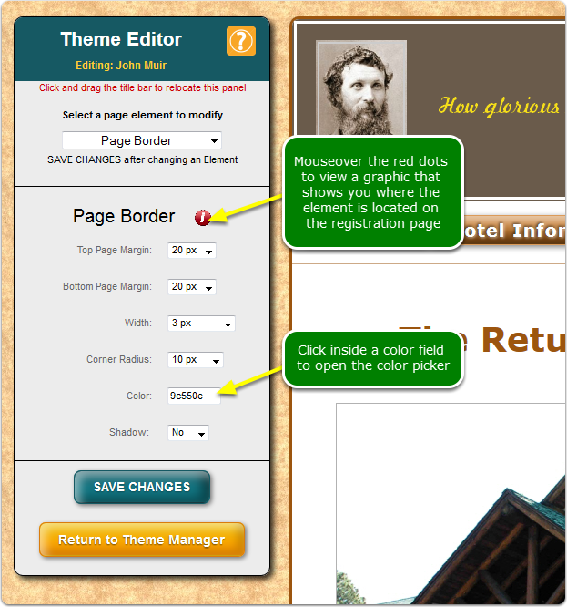 Example: the Page Border element: