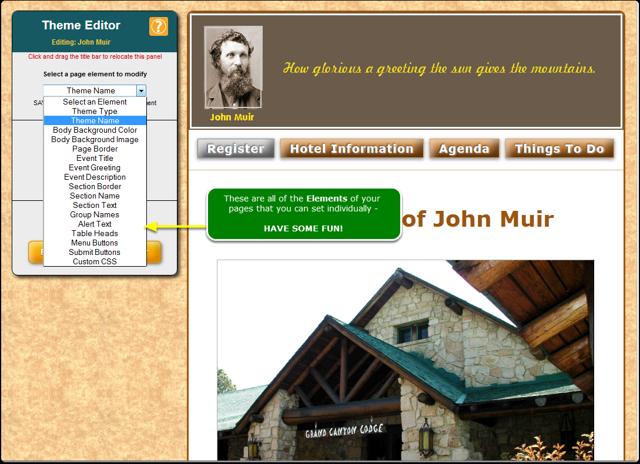 The Theme Editor tool panel