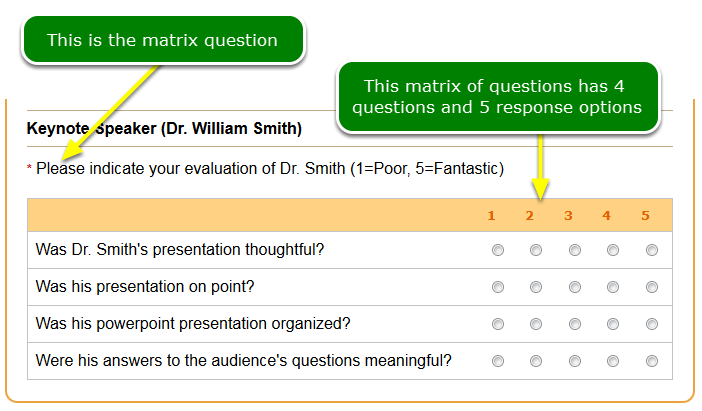 What is a matrix of questions?
