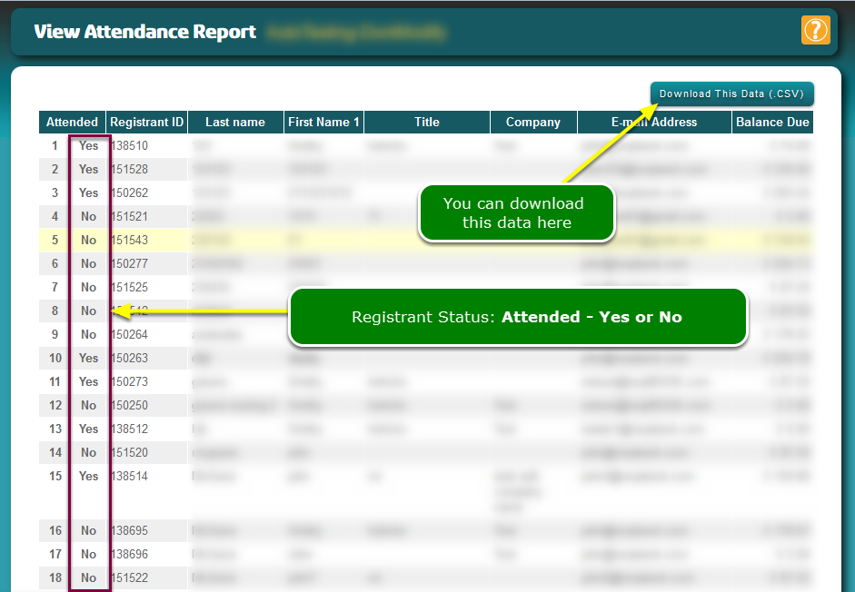 "The Attendance List has been updated and registrants in the .CSV file have been marked ""Attended"""