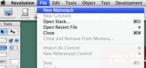 File > New Mainstack