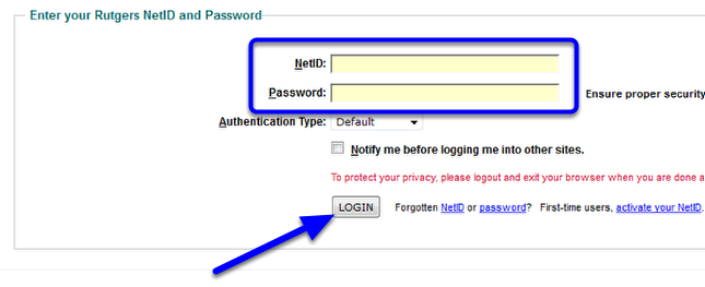 Enter your Rutgers NetID and password, and then click Login.