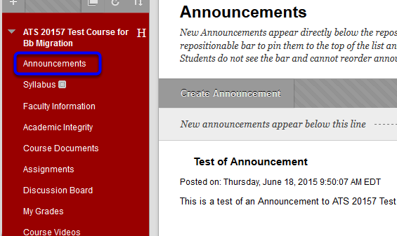 Click on Announcements on the left side of the page.