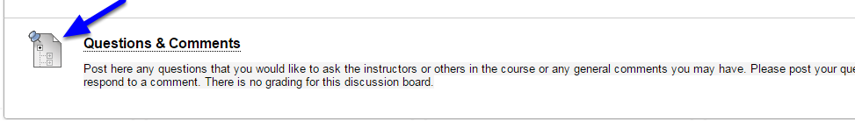 Students will now be able to click on the link within the course to access the Discussion Board.