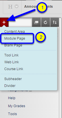 Select Module Page.