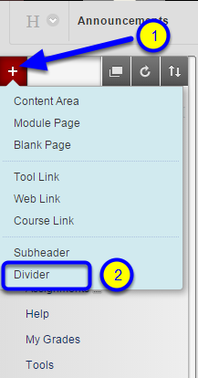 Click on the red + icon at the top left of the course menu and select Divider.
