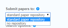 In the Submit papers to section, select standard paper repository if you would like the students' papers to be added toTurnitin's database of student papers. Otherwise, select no repository.