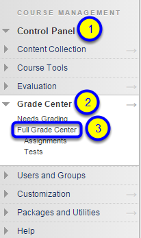 Click on Full Grade Center.
