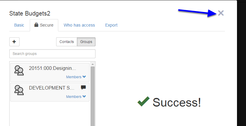 When the success message appear, close the box by clicking on the X in the upper right hand corner.
