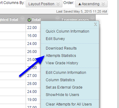 From the drop down menu, click Attempts Statistics.