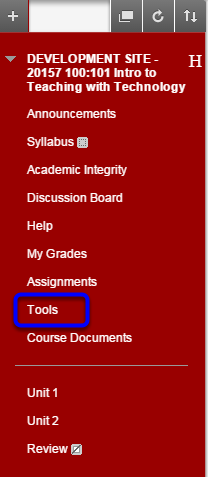 In the course menu click on Tools.