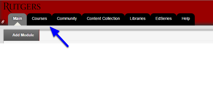 Click the Courses tab in the upper right corner.