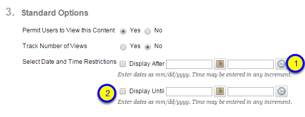 Click the box next to Display Until and enter the date and time that the file will no longer be available to students.
