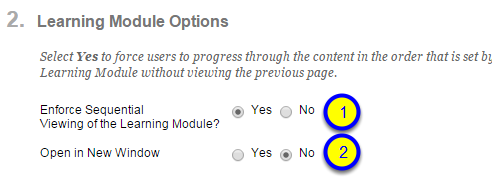 """If you would like your learning module to appear in a new window, click on the button next to Yes for """"Open in New Window."""""""
