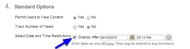 Click the box next to Display After and enter the date and time that the syllabus will be available to students.