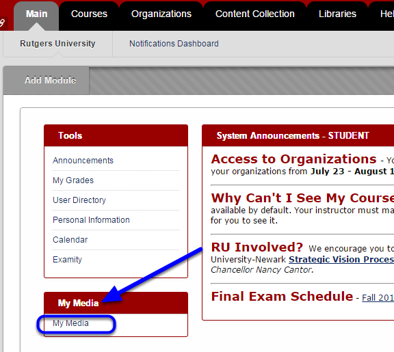 Log into Blackboard, locate the My Media module, and click My Media.