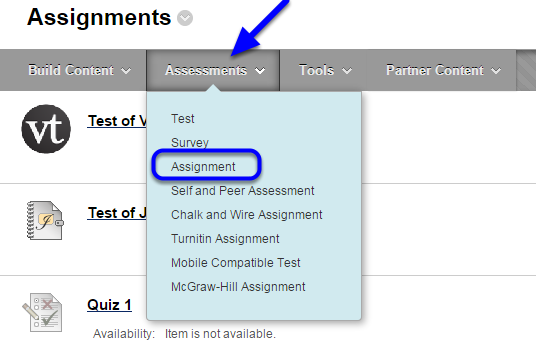 Hover your mouse over Assessments and click on Assignment in the drop down menu.