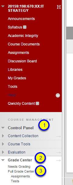 "In the Control Panel section, click on Grade Center and then ""Full Grade Center."""
