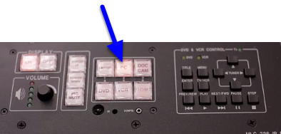 Generally, the computer display (PC) is already selected when turning the Control Pad on.