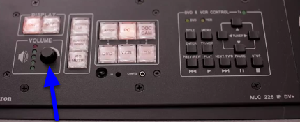 You can adjust the audio by turning the knob located on the control pad.