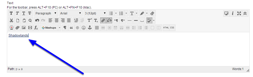 Your embedded HTML code appears in the Text field.
