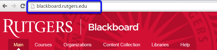 In your web address bar, type in blackboard.rutgers.edu